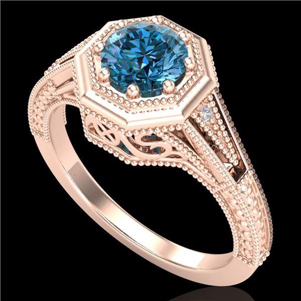 0.84 ctw Fancy Intense Blue Diamond Art Deco Ring 18k Rose Gold - REF-161G8W