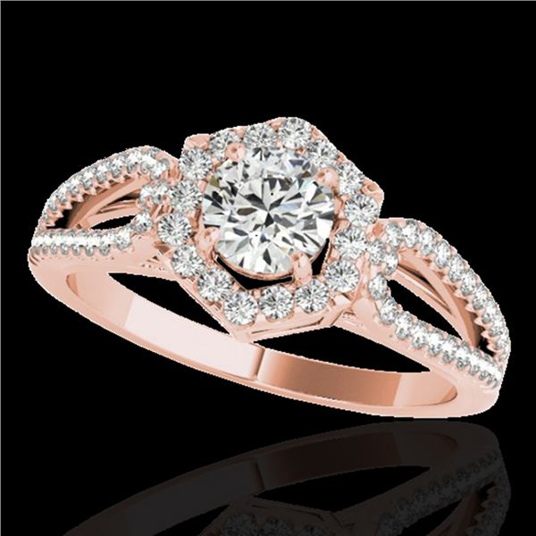 1.43 ctw Certified Diamond Solitaire Halo Ring 10k Rose Gold - REF-204F5M