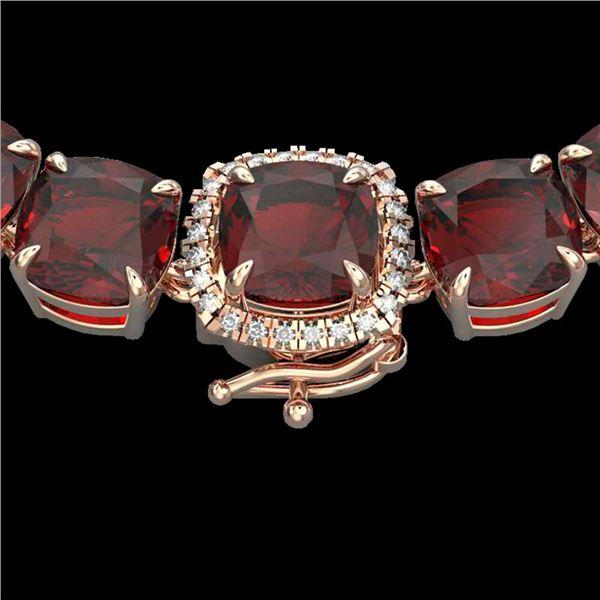 87 ctw Garnet & Diamond Micro Eternity Necklace 14k Rose Gold - REF-320G2W