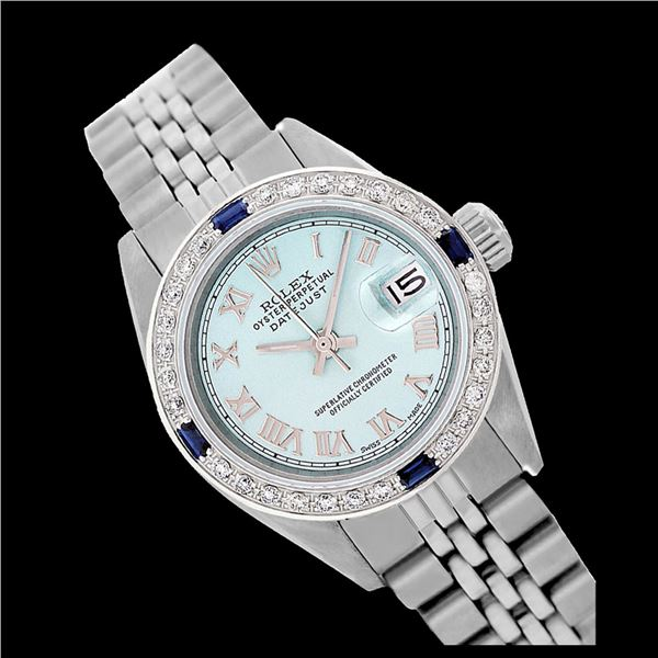 Rolex Ladies Stainless Steel, Roman Dial with Diam/Sapphire Bezel, Sapphire Crystal