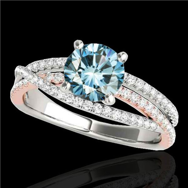 1.65 ctw SI Certified Blue Diamond Solitaire Ring 10k 2Tone Gold - REF-167A2N