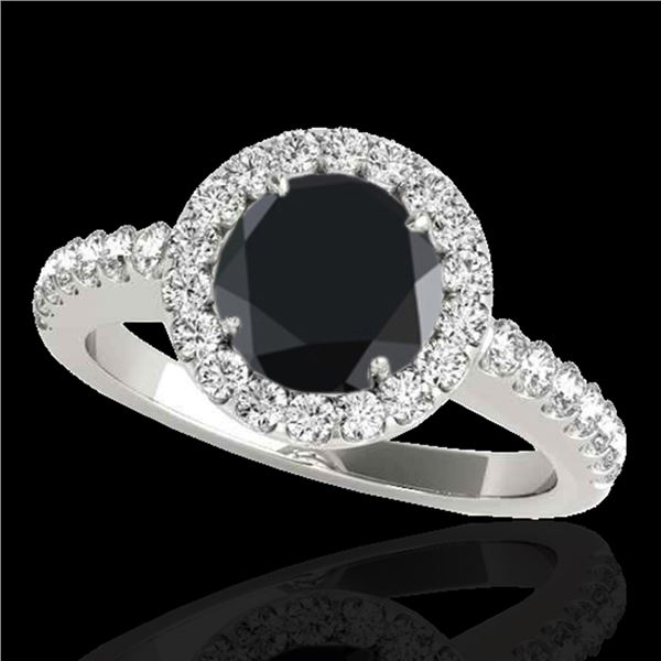 1.65 ctw Certified VS Black Diamond Solitaire Halo Ring 10k White Gold - REF-60A3N