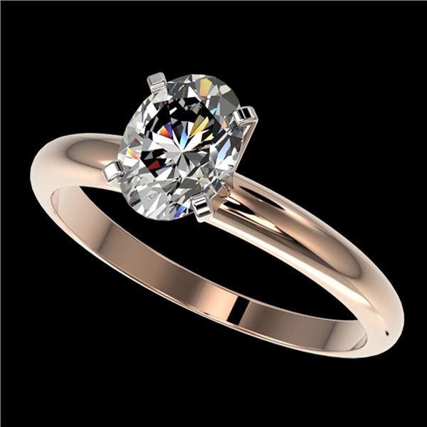 1.25 ctw Certified VS/SI Quality Oval Diamond Ring 10k Rose Gold - REF-303H4R