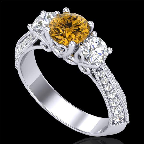 1.81 ctw Intense Fancy Yellow Diamond Art Deco Ring 18k White Gold - REF-236N4F