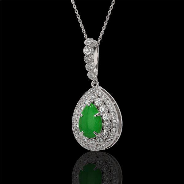 4.07 ctw Jade & Diamond Victorian Necklace 14K White Gold - REF-118A2N