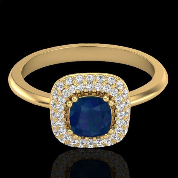 1.16 ctw Sapphire & Micro VS/SI Diamond Ring Halo 18k Yellow Gold - REF-80K2Y
