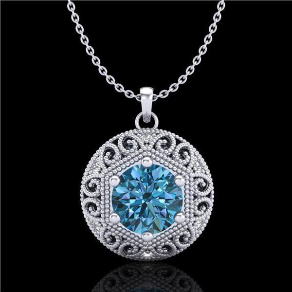 1.11 ctw Fancy Intense Blue Diamond Art Deco Necklace 18k White Gold - REF-161N8F