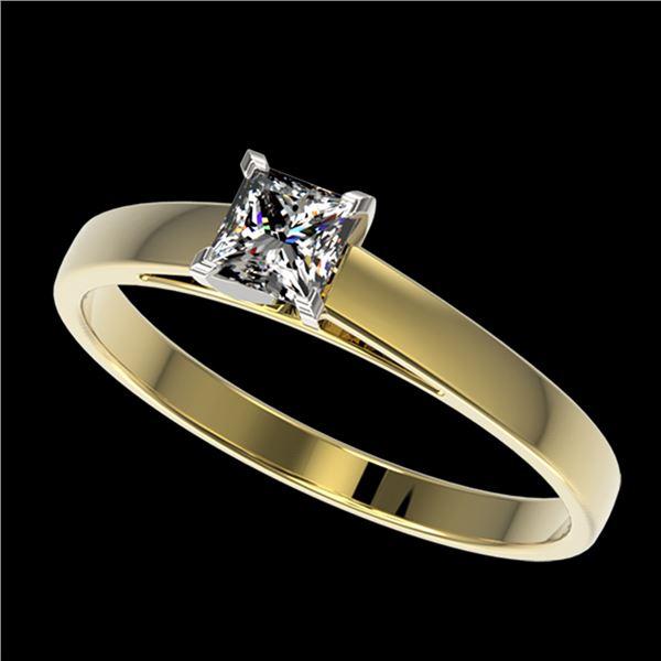 0.50 ctw Certified VS/SI Quality Princess Diamond Ring 10k Yellow Gold - REF-60G3W