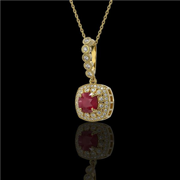 2.55 ctw Certified Ruby & Diamond Victorian Necklace 14K Yellow Gold - REF-100N2F