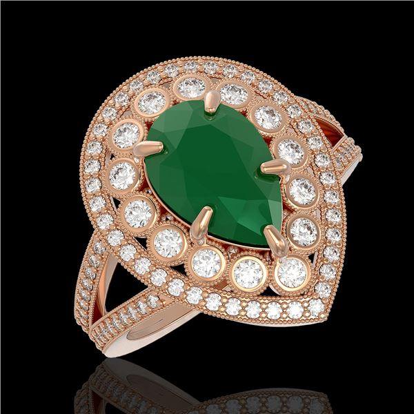 5.12 ctw Certified Emerald & Diamond Victorian Ring 14K Rose Gold - REF-178N2F