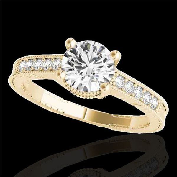 1.45 ctw Certified Diamond Solitaire Antique Ring 10k Yellow Gold - REF-245R5K