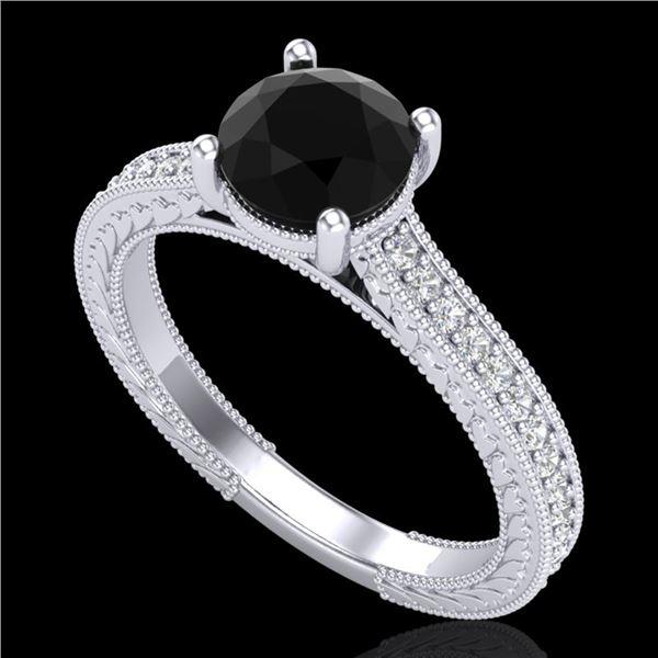 1.45 ctw Fancy Black Diamond Engagment Art Deco Ring 18k White Gold - REF-109G3W