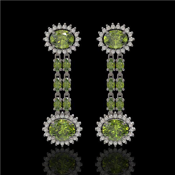 8.69 ctw Tourmaline & Diamond Earrings 14K White Gold - REF-227X3A
