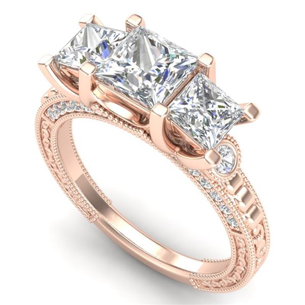 2.66 ctw Princess VS/SI Diamond Art Deco 3 Stone Ring 18k Rose Gold - REF-581M8G