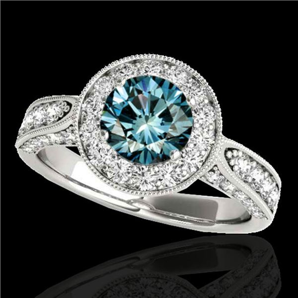 2 ctw SI Certified Fancy Blue Diamond Solitaire Halo Ring 10k White Gold - REF-156K8Y