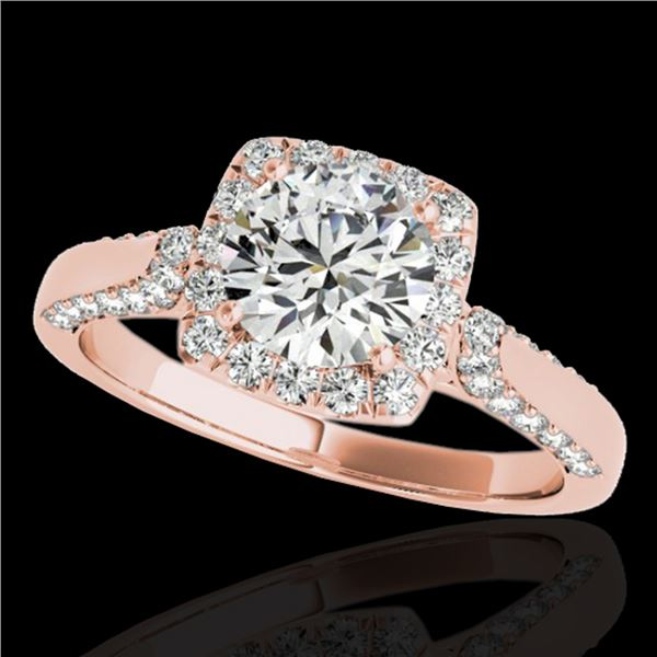 1.5 ctw Certified Diamond Solitaire Halo Ring 10k Rose Gold - REF-204N5F