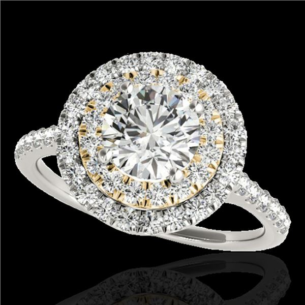 1.5 ctw Certified Diamond Solitaire Halo Ring 10k 2Tone Gold - REF-197R8K