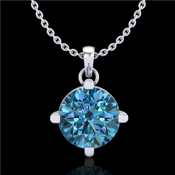 1 ctw Intense Blue Diamond Art Deco Stud Necklace 18k White Gold - REF-154M5G