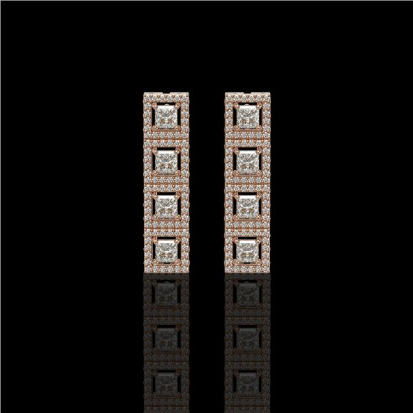 4.01 ctw Princess Cut Diamond Micro Pave Earrings 18K Rose Gold - REF-346W3H