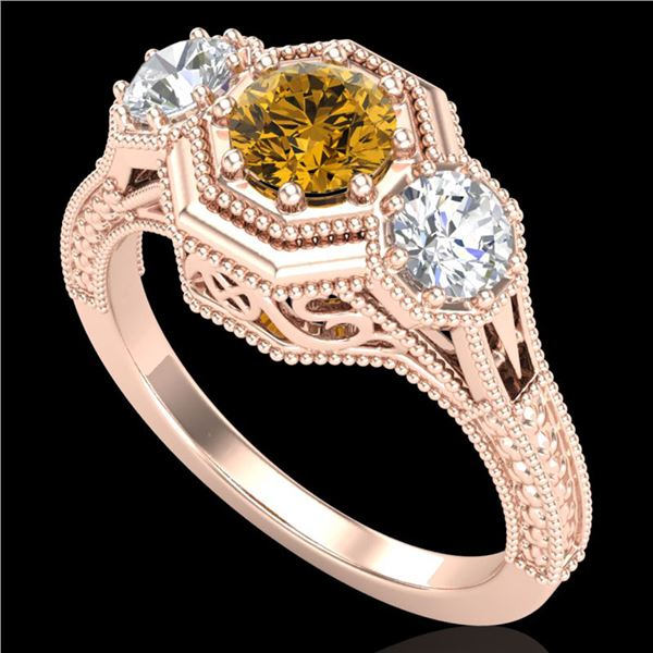 1.05 ctw Intense Fancy Yellow Diamond Art Deco Ring 18k Rose Gold - REF-200R2K