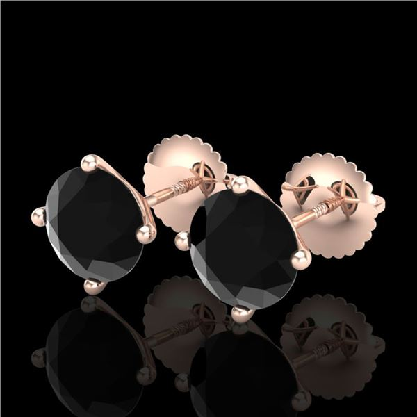 2.5 ctw Fancy Black Diamond Art Deco Stud Earrings 18k Rose Gold - REF-61R4K