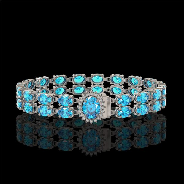 29.22 ctw Swiss Topaz & Diamond Bracelet 14K White Gold - REF-218F2M