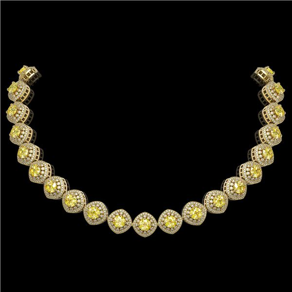 62.37 ctw Canary Citrine & Diamond Victorian Necklace 14K Yellow Gold - REF-1782A9N