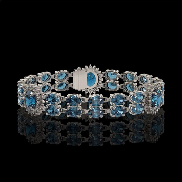 19.3 ctw London Topaz & Diamond Bracelet 14K White Gold - REF-254R5K