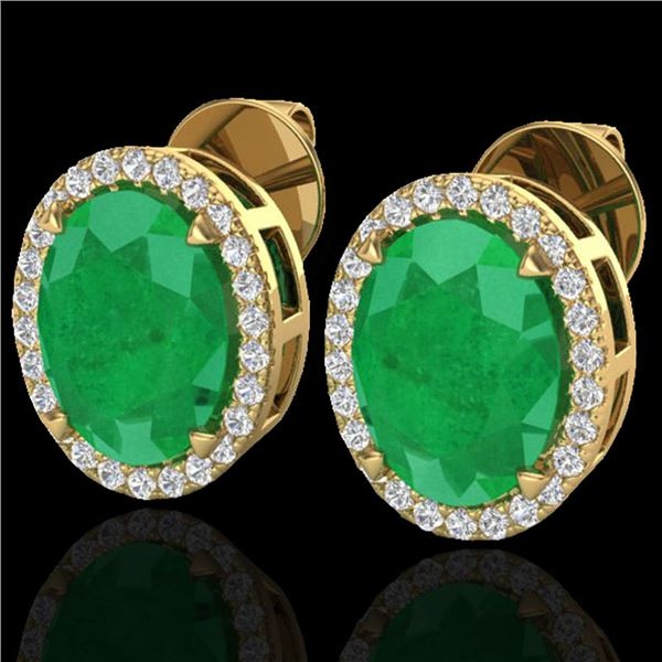 5.50 ctw Emerald & Micro VS/SI Diamond Halo Earrings 18k Yellow Gold - REF-81F8M