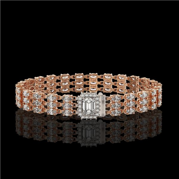 19.48 ctw Emerald Cut & Oval Diamond Bracelet 18K Rose Gold - REF-2068N4F