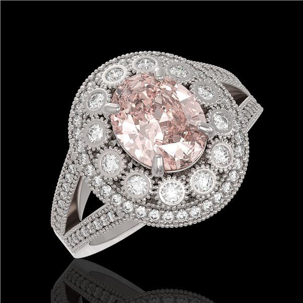 3.95 ctw Certified Morganite & Diamond Victorian Ring 14K White Gold - REF-176R8K