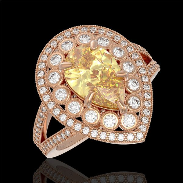 4.12 ctw Canary Citrine & Diamond Victorian Ring 14K Rose Gold - REF-125X5A