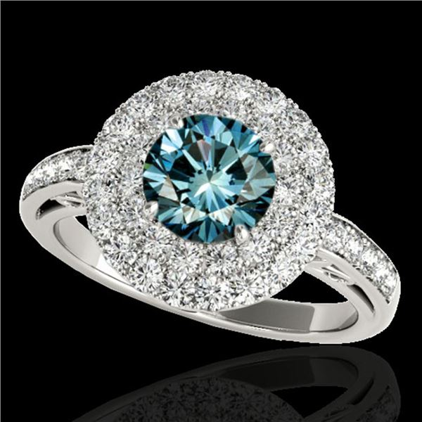 2.25 ctw SI Certified Fancy Blue Diamond Halo Ring 10k White Gold - REF-177K3Y