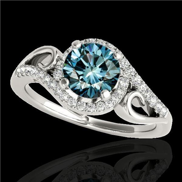 1.25 ctw SI Certified Fancy Blue Diamond Halo Ring 10k White Gold - REF-116Y6X