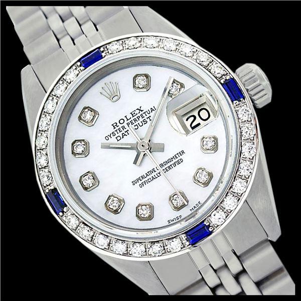 Rolex Ladies Stainless Steel, Diam Dial & Diam/Sapphire Bezel, Sapphire Crystal