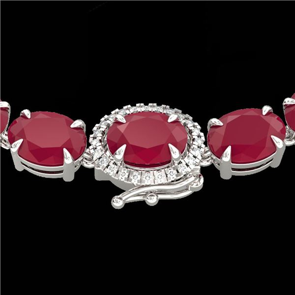 54.25 ctw Ruby & VS/SI Diamond Eternity Micro Necklace 14k White Gold - REF-345Y5X
