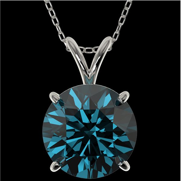 2.50 ctw Certified Intense Blue Diamond Necklace 10k White Gold - REF-429N5F