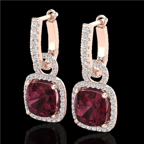 7 ctw Garnet & Micro Pave VS/SI Diamond Earrings 14k Rose Gold - REF-92N2F