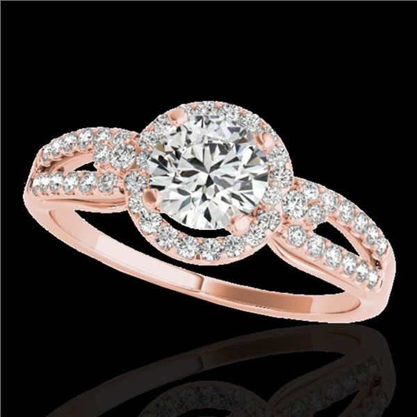 1.25 ctw Certified Diamond Solitaire Halo Ring 10k Rose Gold - REF-190Y9X