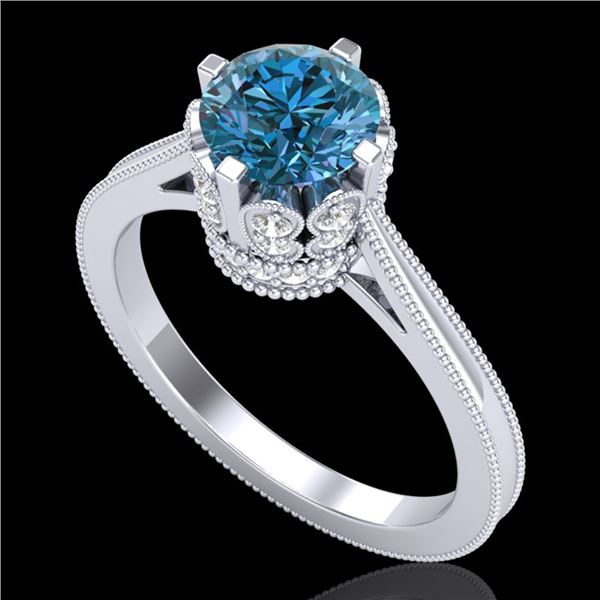 1.5 ctw Fancy Intense Blue Diamond Art Deco Ring 18k White Gold - REF-209A3N