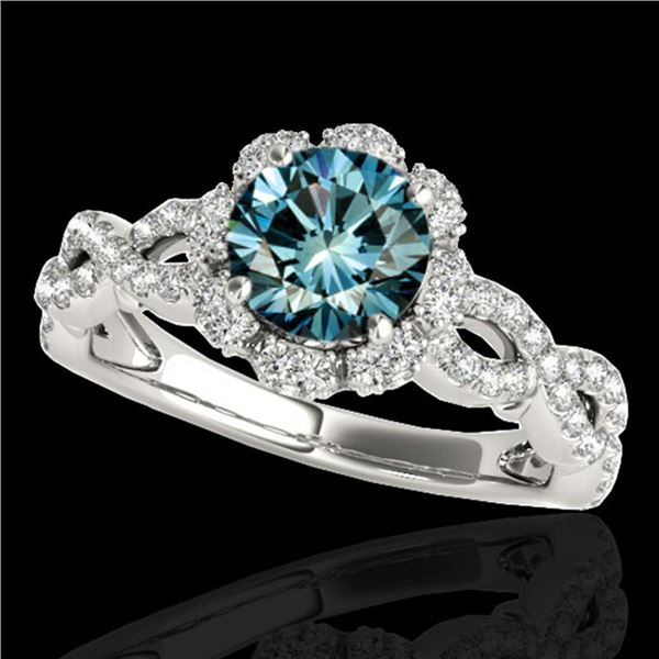 1.69 ctw SI Certified Fancy Blue Diamond Halo Ring 10k White Gold - REF-141Y3X
