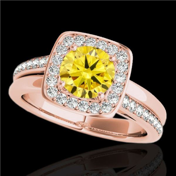 1.33 ctw Certified SI/I Fancy Intense Yellow Diamond Ring 10k Rose Gold - REF-197Y8X