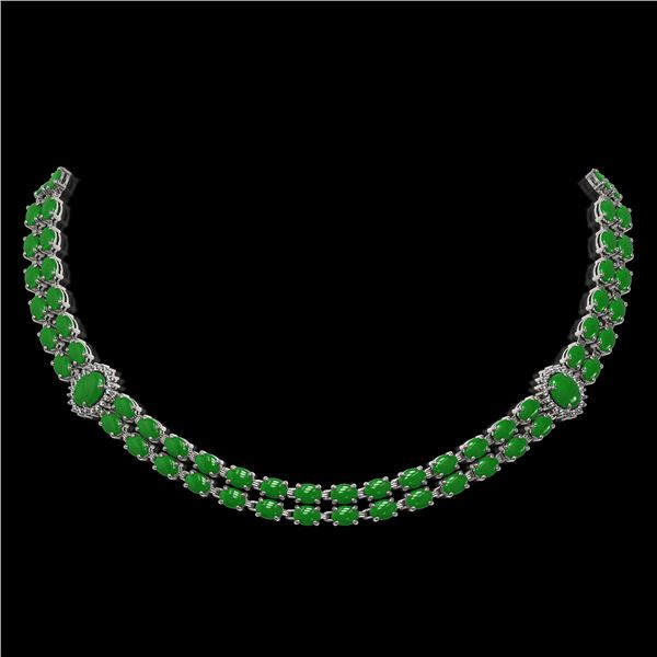 27.65 ctw Jade & Diamond Necklace 14K White Gold - REF-454X5A