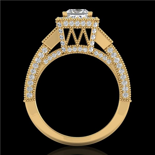 3.53 ctw Princess VS/SI Diamond Micro Pave 3 Stone Ring 18k Yellow Gold - REF-540F9M