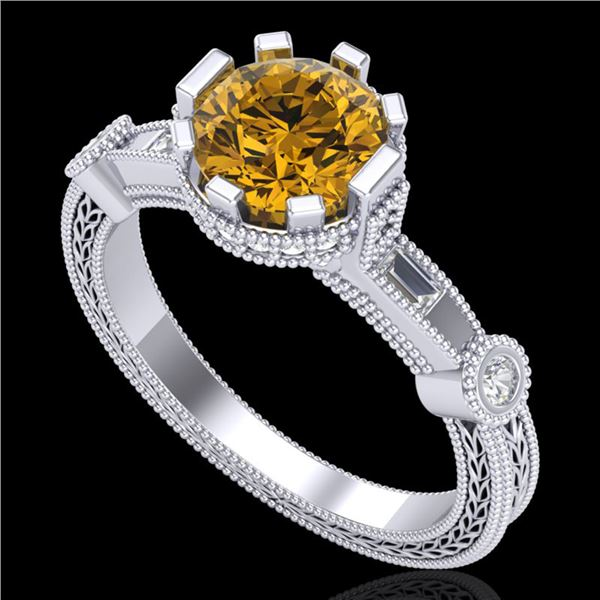 1.71 ctw Intense Fancy Yellow Diamond Art Deco Ring 18k White Gold - REF-345Y5X