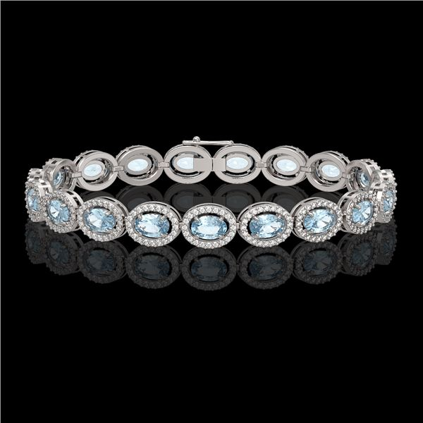 14.82 ctw Sky Topaz & Diamond Micro Pave Halo Bracelet 10k White Gold - REF-263R6K