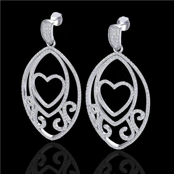 3.20 ctw Micro Pave VS/SI Diamond Heart Earrings 18k White Gold - REF-252A3N