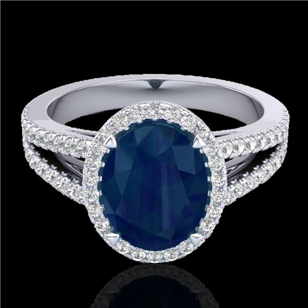 3 ctw Sapphire & Micro Pave VS/SI Diamond Halo Ring 18k White Gold - REF-78A2N