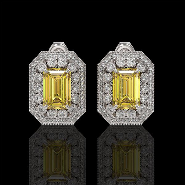11.03 ctw Canary Citrine & Diamond Victorian Earrings 14K White Gold - REF-214W5H