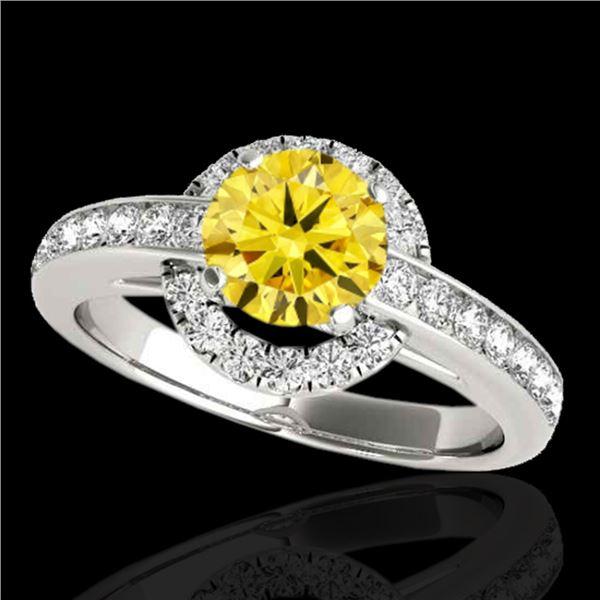 1.5 ctw Certified SI/I Fancy Intense Yellow Diamond Ring 10k White Gold - REF-210F2M